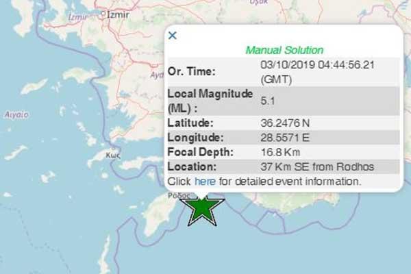 Ισχυρός σεισμός 5,1 Ρίχτερ νοτιοανατολικά της Ρόδου