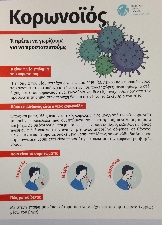 Π.Ε. Ηλείας: Δράσεις Ενημέρωσης των πολιτών και Μέτρα πρόληψης για τον κορωνοιό- Δείτε αναλυτικά (Photos)