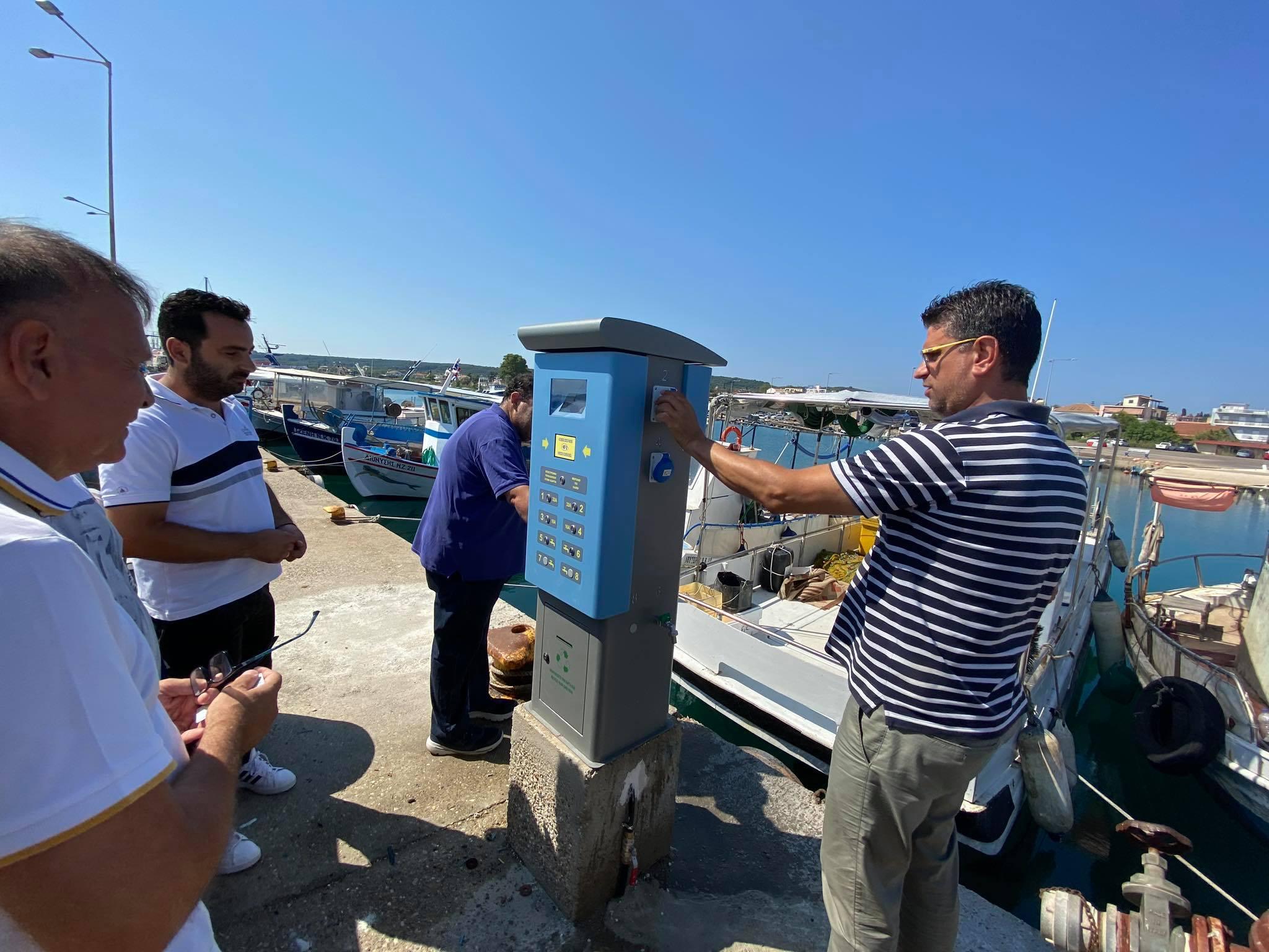 Σε λειτουργία οι συσκευές pillars στο Λιμάνι της Κυλλήνης - Πρώτη δοκιμαστική λειτουργία παρουσία του Γιάννη Λέντζα (photos)