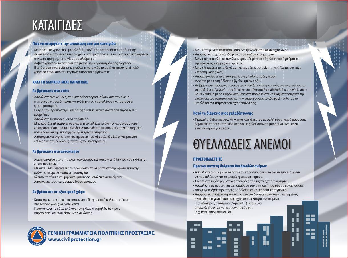 ΠΔΕ: Έκτακτο Δελτίο Επικίνδυνων Καιρικών Φαινομένων από την ΕΜΥ για βροχές και καταιγίδες από αύριο 27/10