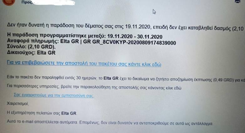 ΕΛΤΑ – Προσοχή! Μην ανοίξετε αυτό το email!