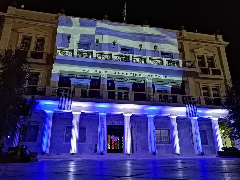 Δήμος Πύργου: Στα χρώματα της γαλανόλευκης απόψε το Δημαρχείο, τιμώντας την 200η επέτειο της Επαναστάσεως του 1821