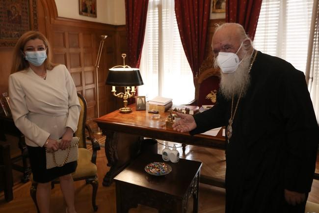 Επίσκεψη Δ.Θ. Αυγερινοπούλου στον Αρχιεπίσκοπο Αθηνών και πάσης Ελλάδος, κ.κ. Ιερώνυμο